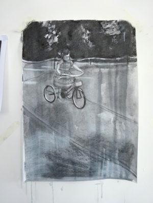 160609 Su on tricycle ink & charcoal for web