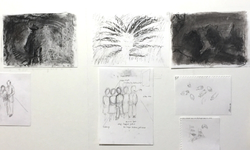 work by Caroline Holt-Wilson: top 3 drawings and centre drawing below